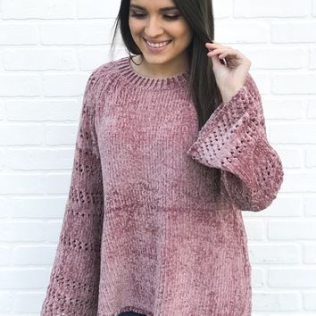Chenille Bell Sleeve Sweater - Mauve