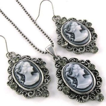 Grey Cameo Necklace Pendant Dangle Drop Earrings Fashion Jewelry Set