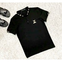 LV 2019 new embroidered letter POLO shirt half sleeve T-shirt black