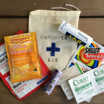 Hangover kit, groomsman hangover bag, blue cross hangover kit, wedding welcome bag kit, survival kit, recovery kit, bachelor party favor