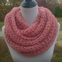 Rose Pink Scarf , Unique Knitted Scarf ,Knitted Infinity Scarf ,Soft Neck Warmer Warm Scarf for Winter Double Knit