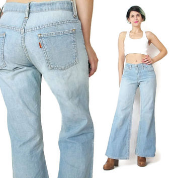 Vintage Big E Levis Jeans Orange Tab 1960s Levis Bell Bottoms Jeans Rare Vintage Denim Light Wash Womens Jeans Hippie Flared Jeans  (S/M)