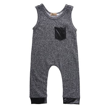Summer Toddler Kids Baby Girl Boy Sleeveless Cotton Gray Romper Jumpsuit Outfits Costume 1-6Y