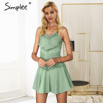 Simplee Spaghetti strap white lace dress women Backless bow sexy short dress Tassel elegant summer cami dress 2018