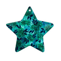 "Ebi Emporium ""Grunge Flowers III"" Teal Floral Ceramic Star Ornament"