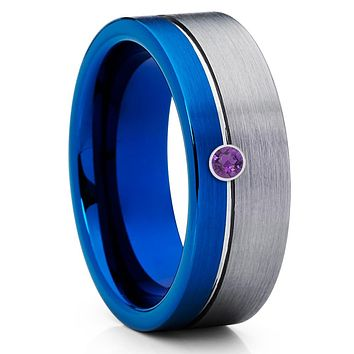 Amethyst Wedding Band - Blue Tungsten Band - Gray Tungsten Ring - 8mm