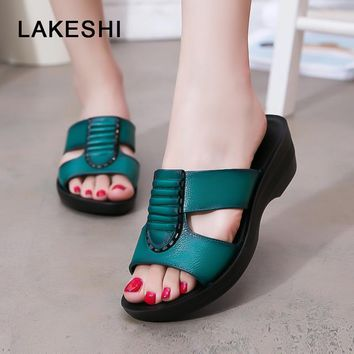 LAKESHI Women Sandals Fashion Summer Slippers Woman Casual Wedge Sandals Slides Open Toes Flats Slippers