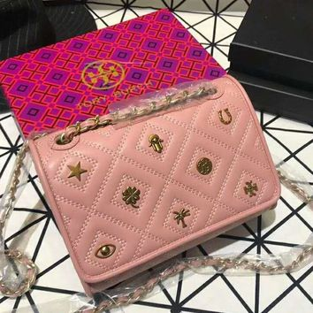 Tory Burch 2018 new badge embroidered rhombic chain bag shoulder slung small square bag pink