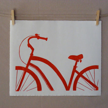 Red Bike  Hand Printed Linocut  PRINT by WoodenSpoonEditions