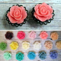 "Pair of Rose Plugs on Antique Brass Filigrees - TONS of colors - Handmade Girly Gauges - 1/2"", 9/16"", 5/8"""