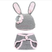 Baby Newborn Knit Crochet Handmade Clothes Photo Prop Outfits Rabbit 18009 Apparel & Accessories (Color: Gray) = 1958326404