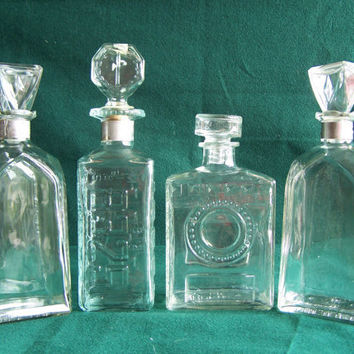 Vintage 1950s Whisky Decanters Set of 4 decanters 1 DE by PatJacs