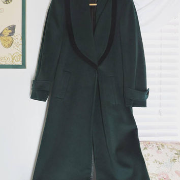 Vintage full length wool coat / size S / forest green long wool coat / Braefair Forstmann / double breasted winter wool maxi coat
