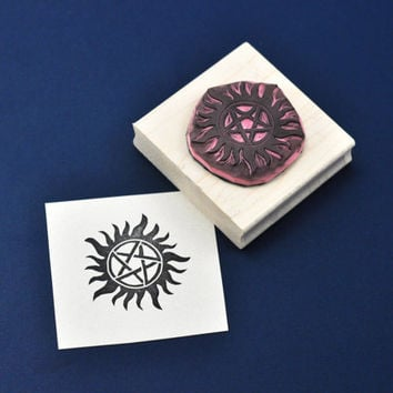 Supernatural Anti-Possession Seal Rubber Stamp, Hand Carved Supernatural Stamp