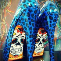 Blue Leopard Custom Skeleton Heels by Tattoo Shoe