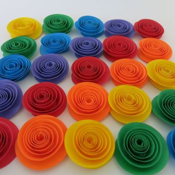 Rainbow paper flower set of 24, Wedding table centerpiece, Child birthday party decorations, bridal shower decor, circus theme art 1.5""