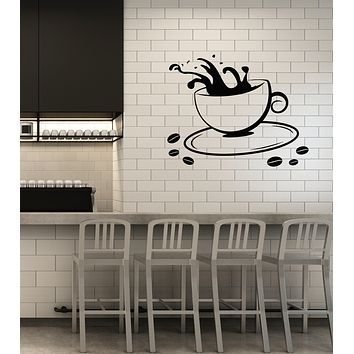 Vinyl Wall Decal Coffee Cup House Dining Break Room Kitchen Decor Idea Stickers Mural (ig6077)