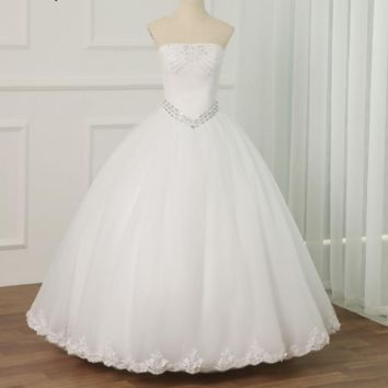 Vintage White Ivory Wedding Dress Strapless Beaded Sequins Tulle Ball Gown Wedding Dresses Lace-up Back