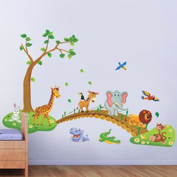 Jungle Wild Animal Wall Decor Decals Stickers Kids Room