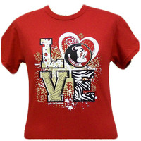 New FSU Florida State Seminoles Girls Love Girlie Bright T Shirt