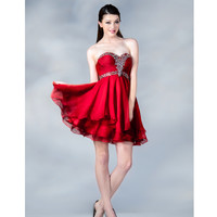 Red Chiffon Sweetheart Short Dress 2015 Prom Dresses