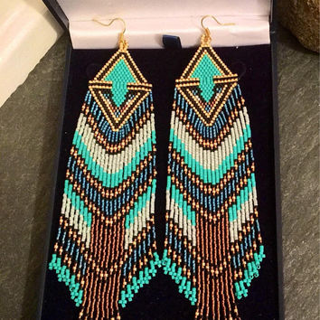 Luxury Valentine Gift For Her Turquoise Gold Blue Zircon Brown Beaded Fringe Earrings Native American Glass Seed Bead Shoulder Dusters