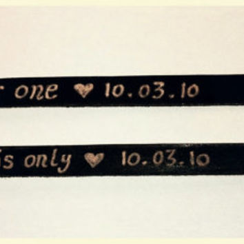 Valentine Personalized Leather Bracelet For Couples