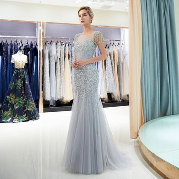 Backless Prom Dresses Gray Beaded Bodice Tassel Shoulder Mermaid Zipper Sweep Train Gold Evening Gown