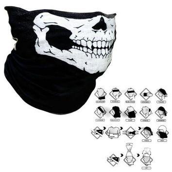 Skull Half Face Bandana Skeleton Ski Motorcycle Biker Paintball Mask