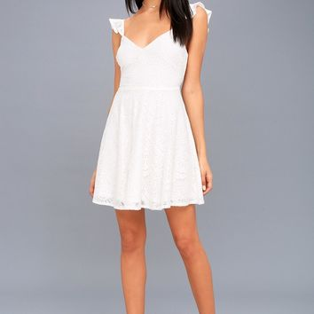 Absolutely Adorable White Lace Backless Skater Dress