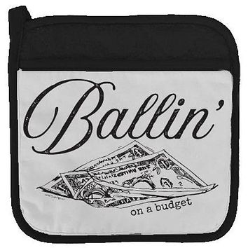 Ballin' On A Budget Potholder in Black and White