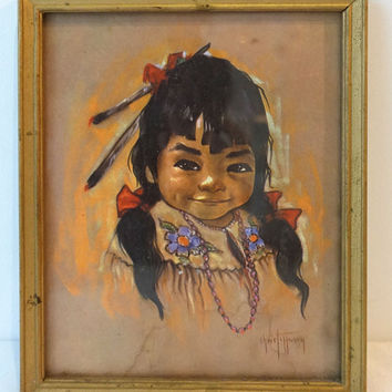 ON SALE Vintage collectable 1950s Gerda Christofferson native American Indian child portrait print, papoose