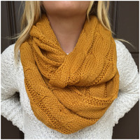 Cable Knit Thick Infinity Scarf - MUSTARD YELLOW - Cable Knit Thick Infinity Scarf - MUSTARD YELLOW