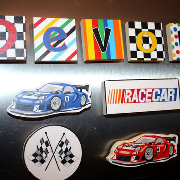 Race Car Racing Boys Name Magnets Fridge Bedroom Magnets NM0011