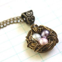 Wire Wrapped Nest Pendant Necklace with Pink, Lavender and Gray Pearls