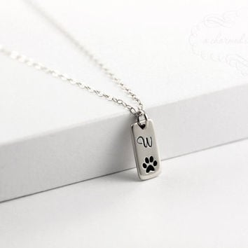Dog Paw Print Necklace, Engraved Initial Charm, Tiny Pendant, Monogrammed Gifts for Pet Lover, Dog Tag, Puppy Owner, Silver | Gold, Woof