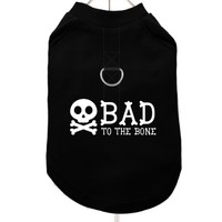 """Bad To The Bone"" Harness-Lined Dog T-Shirt 