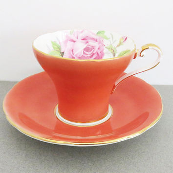 Aynsley pink rose tea cup teacup and saucer English rose tea cup - Rose and gold bone china tea cup - Made in England