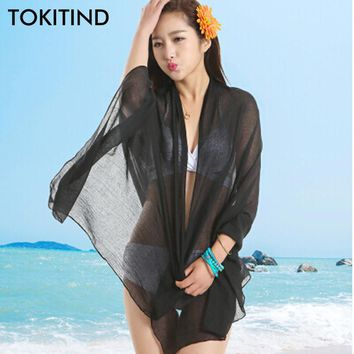 TOKITIND Free Shipping Sexy beach cover up women's sarong summer bikini cover-ups wrap pareo beach dress skirts towel 60*180cm