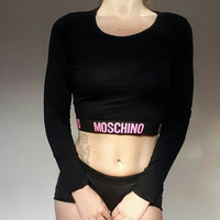 Reworked moschino long sleeved crop top