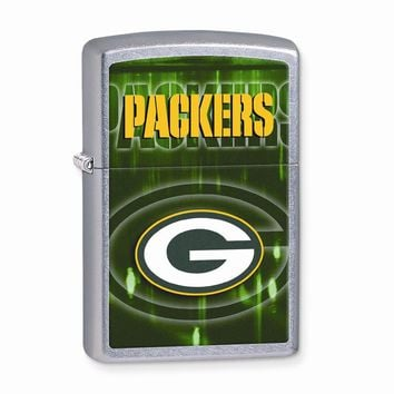 Zippo Green Bay Packers High Polish Chrome Lighter - Engravable Gift Item
