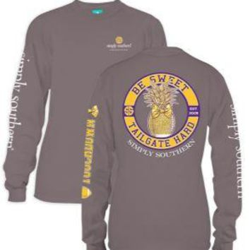 *Closeout* Simply Southern Long Sleeve Tees - FOOTBALL GOLD & PURPLE