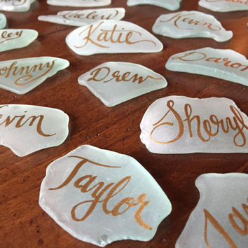 Calligraphy on Sea Glass for Meg