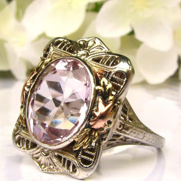 Antique Engagement Ring 5ct Synthetic Pink Spinel Ring Art Deco Engagement Ring 14K White Rose & Yellow Gold Art Deco Filigree Ring Size 6!