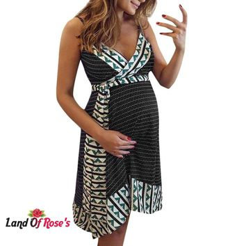 Pregnant Maternity Nursing Stripe Breastfeeding Summer Backless Dress