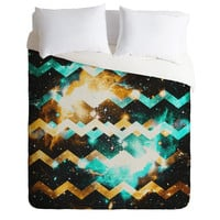 Caleb Troy Cyan Gold Star Chevron Duvet Cover