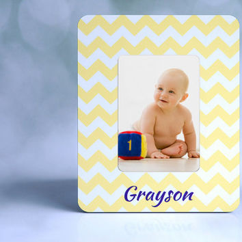 Bright Yellow Chevron Custom Picture Frame + Monogram Picture Frame