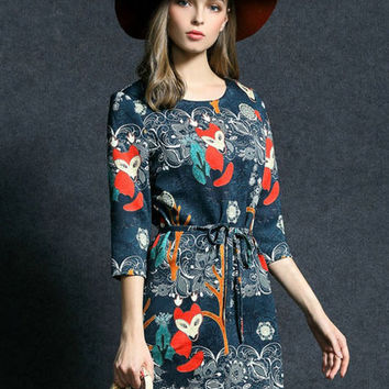 Blue Floral Fox Print Waist Tie Mini Dress