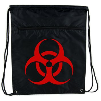 Red Bio-Hazard Radiation Cinch Bag Drawstring Backpack Zombie
