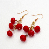 Red Crystal Gold Earrings,  Red Gold Wired Dangles Earrings, Anniversary, Birthday Christmas Gift Under 25